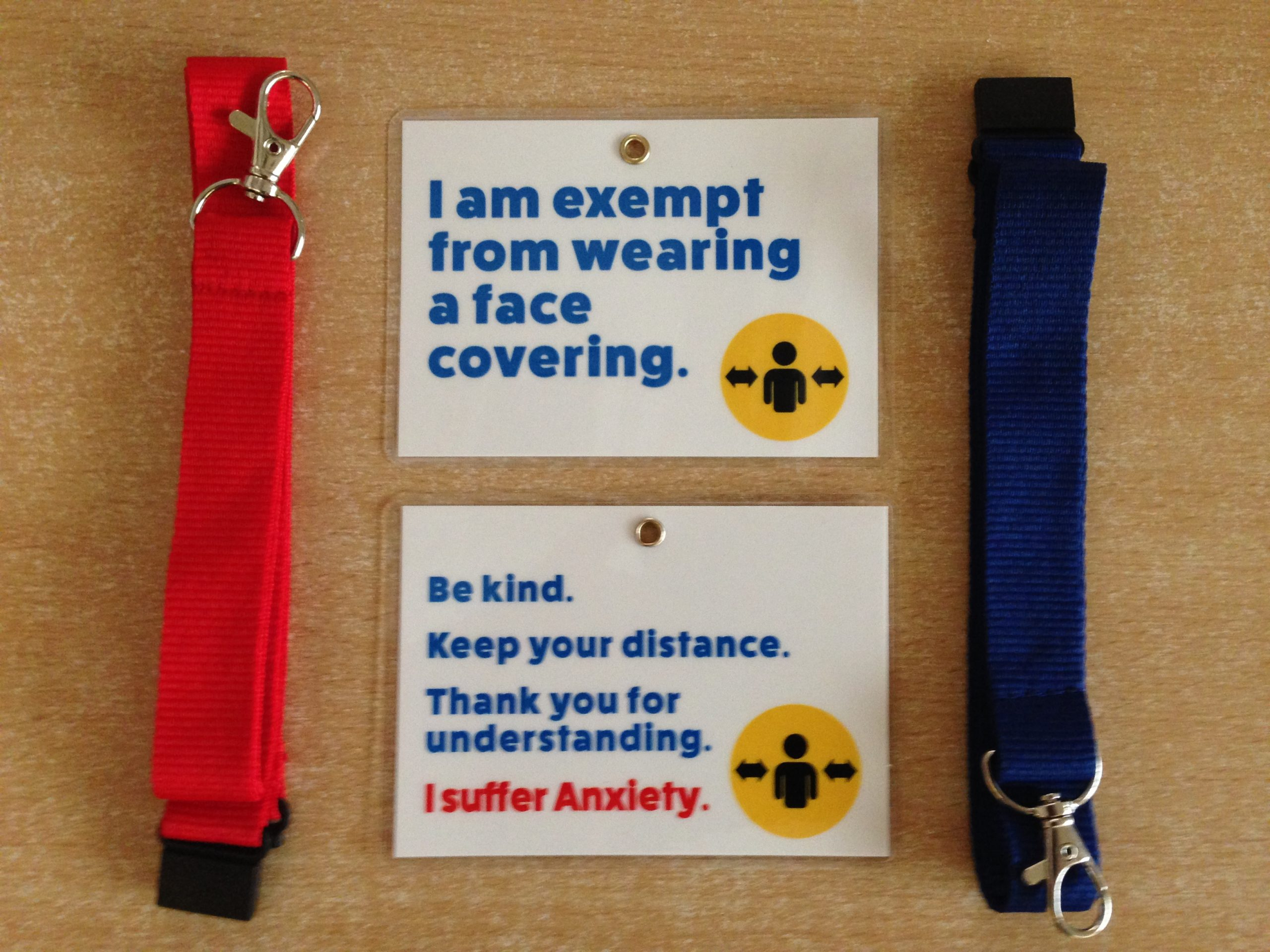 Anxiety Face Mask Exemption Card with Lanyard - A1 ...